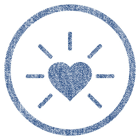 vectorized: Shiny Love Heart textured icon for overlay watermark stamps. Blue jeans fabric vectorized texture. Rounded flat vector symbol with scratched design.
