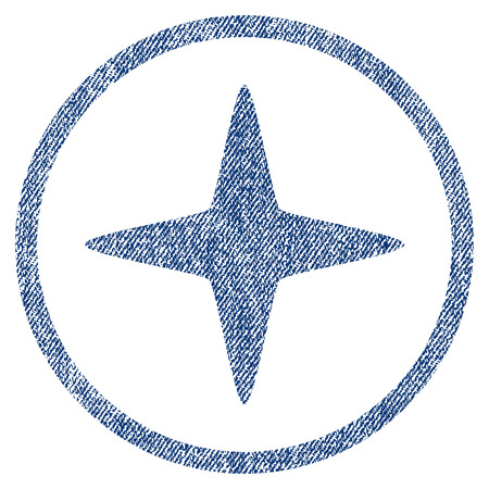 vectorized: Sparkle Star textured icon for overlay watermark stamps. Blue jeans fabric vectorized texture. Rounded flat vector symbol with scratched design.