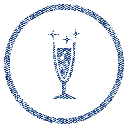 vectorized: Sparkle Wine Glass textured icon for overlay watermark stamps. Blue jeans fabric vectorized texture. Rounded flat vector symbol with unclean design.