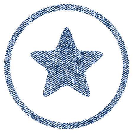 vectorized: Star textured icon for overlay watermark stamps. Blue jeans fabric vectorized texture. Rounded flat vector symbol with dirty design. Circled blue ink rubber seal stamp with fiber textile structure. Illustration