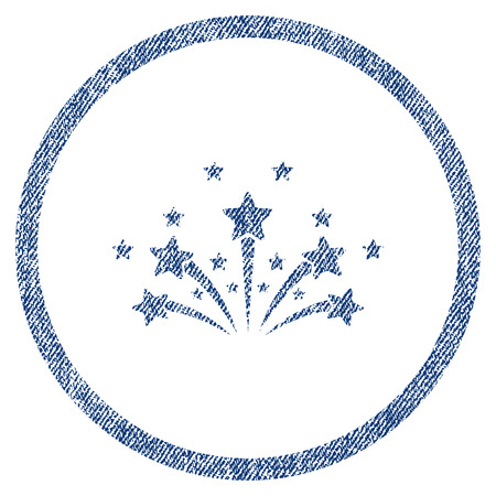 vectorized: Star Fireworks textured icon for overlay watermark stamps. Blue jeans fabric vectorized texture. Rounded flat vector symbol with dust design.
