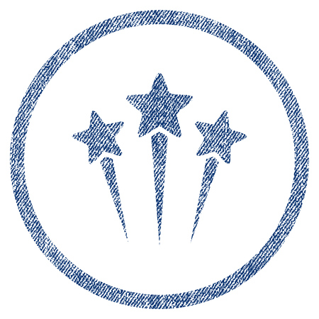 vectorized: Star Salute textured icon for overlay watermark stamps. Blue jeans fabric vectorized texture. Rounded flat vector symbol with scratched design. Illustration