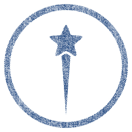 vectorized: Starting Star textured icon for overlay watermark stamps. Blue jeans fabric vectorized texture. Rounded flat vector symbol with unclean design.