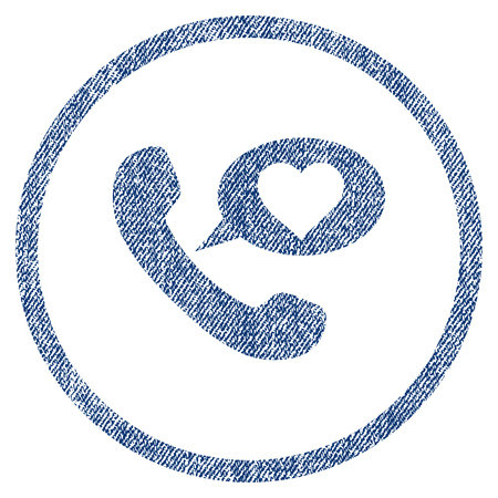 vectorized: Love Phone Message textured icon for overlay watermark stamps. Blue jeans fabric vectorized texture. Rounded flat vector symbol with dirty design. Illustration