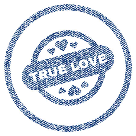vectorized: True Love Stamp Seal textured icon for overlay watermark stamps. Blue jeans fabric vectorized texture. Rounded flat vector symbol with scratched design. Illustration
