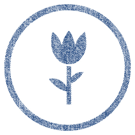 vectorized: Tulip textured icon for overlay watermark stamps. Blue jeans fabric vectorized texture. Rounded flat vector symbol with unclean design. Circled blue ink rubber seal stamp with fiber textile structure.