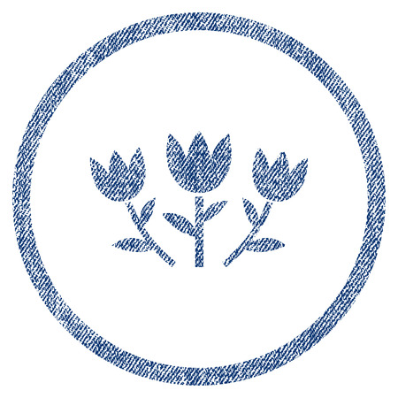 vectorized: Tulip Flowers textured icon for overlay watermark stamps. Blue jeans fabric vectorized texture. Rounded flat vector symbol with dirty design.