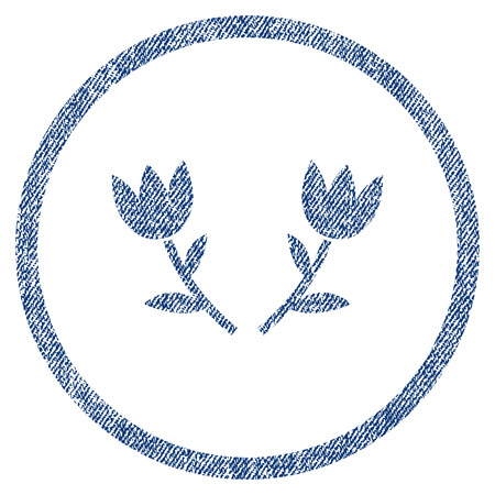 vectorized: Tulip Flowers textured icon for overlay watermark stamps. Blue jeans fabric vectorized texture. Rounded flat vector symbol with scratched design.