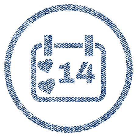 vectorized: Valentine Calendar Day textured icon for overlay watermark stamps. Blue jeans fabric vectorized texture. Rounded flat vector symbol with unclean design. Illustration