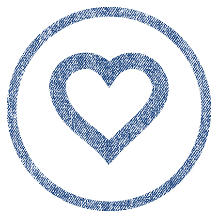 vectorized: Valentine Heart textured icon for overlay watermark stamps. Blue jeans fabric vectorized texture. Rounded flat vector symbol with dust design. Illustration