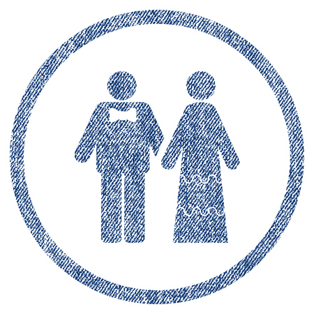 vectorized: Wedding Persons textured icon for overlay watermark stamps. Blue jeans fabric vectorized texture. Rounded flat vector symbol with scratched design. Illustration