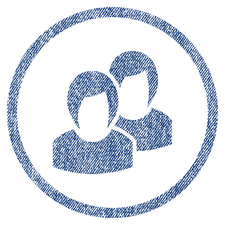 vectorized: Women textured icon for overlay watermark stamps. Blue jeans fabric vectorized texture. Rounded flat vector symbol with dust design. Circled blue ink rubber seal stamp with fiber textile structure. Illustration
