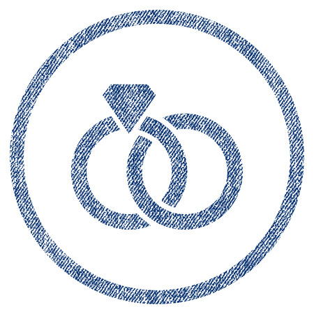 vectorized: Wedding Rings textured icon for overlay watermark stamps. Blue jeans fabric vectorized texture. Rounded flat vector symbol with dust design.