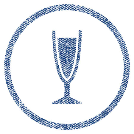 vectorized: Wine Glass textured icon for overlay watermark stamps. Blue jeans fabric vectorized texture. Rounded flat vector symbol with unclean design.