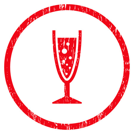 aerated: Champagne Glass grainy textured icon for overlay watermark stamps. Rounded flat raster symbol with unclean texture. Circled red ink rubber seal stamp with grunge design on a white background.
