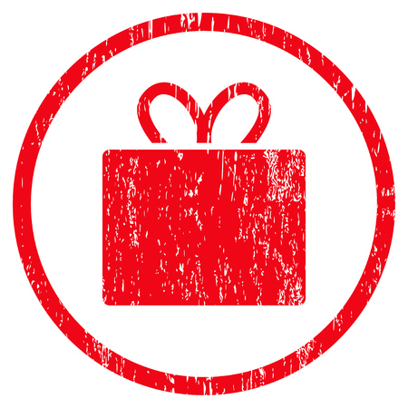 Gift grainy textured icon for overlay watermark stamps. Rounded flat raster symbol with unclean texture. Circled red ink rubber seal stamp with grunge design on a white background.
