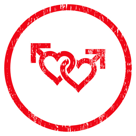 raster sex: Linked Gay Hearts grainy textured icon for overlay watermark stamps. Rounded flat raster symbol with dust texture. Circled red ink rubber seal stamp with grunge design on a white background.