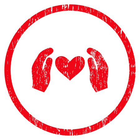 Love Care Hands grainy textured icon for overlay watermark stamps. Rounded flat vector symbol with scratched texture. Circled red ink rubber seal stamp with grunge design on a white background. Illustration