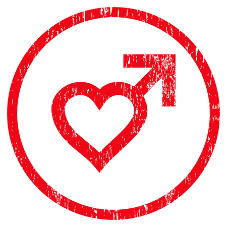 Male Heart grainy textured icon for overlay watermark stamps. Rounded flat raster symbol with scratched texture. Circled red ink rubber seal stamp with grunge design on a white background.