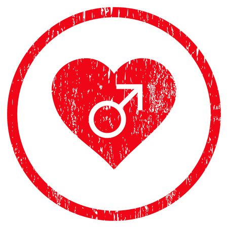 Male Love Heart grainy textured icon for overlay watermark stamps. Rounded flat raster symbol with dirty texture. Circled red ink rubber seal stamp with grunge design on a white background. Stock Photo