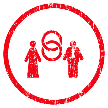 Marriage Persons grainy textured icon for overlay watermark stamps. Rounded flat raster symbol with scratched texture. Circled red ink rubber seal stamp with grunge design on a white background.