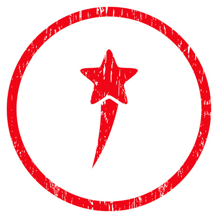 Starting Star grainy textured icon for overlay watermark stamps. Rounded flat raster symbol with scratched texture. Circled red ink rubber seal stamp with grunge design on a white background.