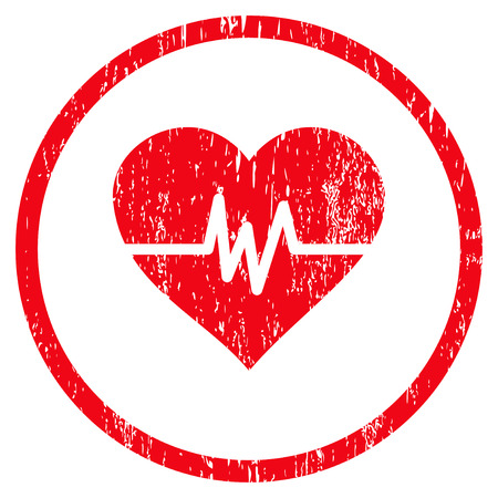 Heart Pulse grainy textured icon for overlay watermark stamps. Rounded flat vector symbol with dirty texture. Circled red ink rubber seal stamp with grunge design on a white background.
