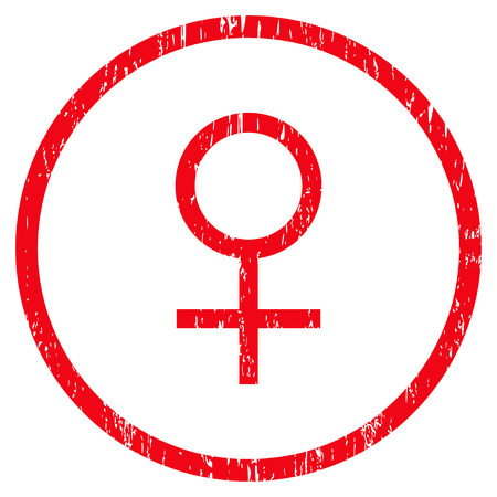 Venus Female Symbol grainy textured icon for overlay watermark stamps. Rounded flat raster symbol with dust texture. Circled red ink rubber seal stamp with grunge design on a white background.