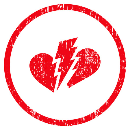 heartbreak issues: Broken Heart grainy textured icon for overlay watermark stamps. Rounded flat vector symbol with dust texture. Circled red ink rubber seal stamp with grunge design on a white background. Illustration