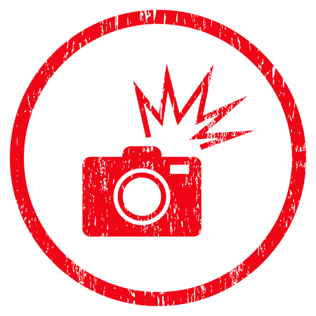 Camera Flash grainy textured icon for overlay watermark stamps. Rounded flat vector symbol with dirty texture. Circled red ink rubber seal stamp with grunge design on a white background.