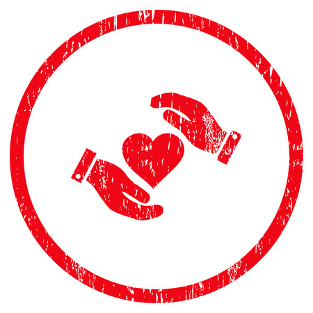 Love Heart Care Hands grainy textured icon for overlay watermark stamps. Rounded flat vector symbol with unclean texture. Circled red ink rubber seal stamp with grunge design on a white background.