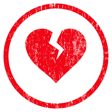 heartbreak issues: Heart Break grainy textured icon for overlay watermark stamps. Rounded flat vector symbol with unclean texture. Circled red ink rubber seal stamp with grunge design on a white background.