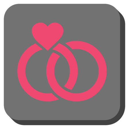 Wedding Rings interface toolbar icon. Vector pictograph style is a flat symbol in a rounded square button, pink and gray colors.
