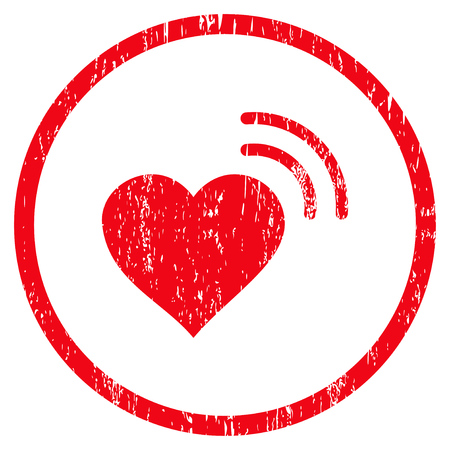 Heart Radio Signal grainy textured icon for overlay watermark stamps. Rounded flat vector symbol with dirty texture. Circled red ink rubber seal stamp with grunge design on a white background. Illustration