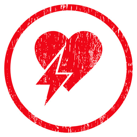 Heart Shock grainy textured icon for overlay watermark stamps. Rounded flat vector symbol with dirty texture. Circled red ink rubber seal stamp with grunge design on a white background.