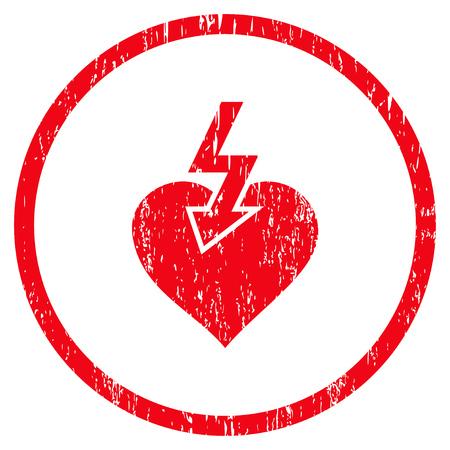 Heart Shock Strike körnig strukturierte Symbol für Overlay-Wasserzeichen-Briefmarken. Abgerundetes flaches Vektorsymbol mit schmutziger Beschaffenheit. Eingekreister roter Tintengummidichtungsstempel mit Schmutzdesign auf einem weißen Hintergrund.