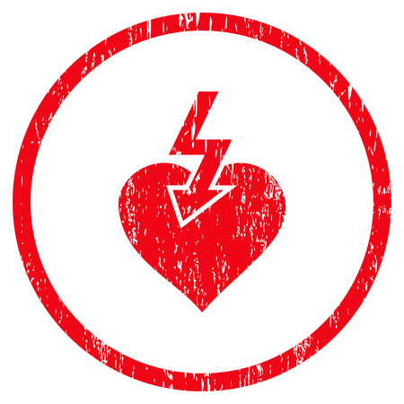 Heart Shock Strike grainy textured icon for overlay watermark stamps. Rounded flat vector symbol with dirty texture. Circled red ink rubber seal stamp with grunge design on a white background.