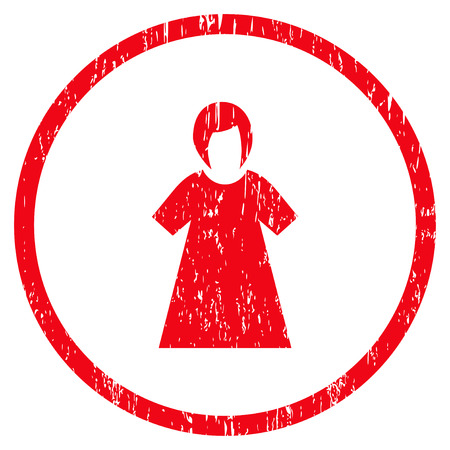 dirty clothes: Lady Figure grainy textured icon for overlay watermark stamps. Rounded flat vector symbol with scratched texture. Circled red ink rubber seal stamp with grunge design on a white background. Illustration