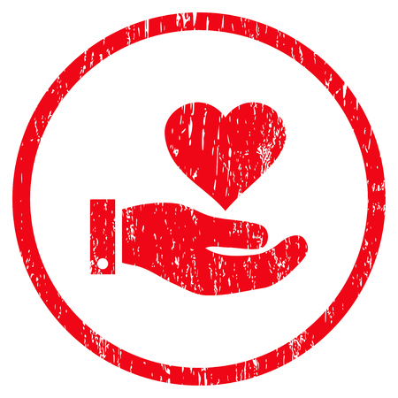 Love Heart Offer Hand grainy textured icon for overlay watermark stamps. Rounded flat vector symbol with scratched texture. Circled red ink rubber seal stamp with grunge design on a white background.