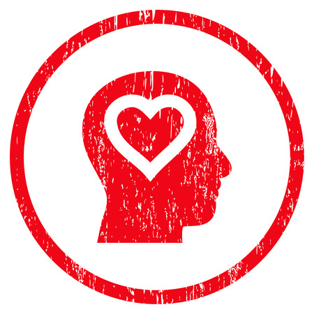 Love In Head grainy textured icon for overlay watermark stamps. Rounded flat vector symbol with dust texture. Circled red ink rubber seal stamp with grunge design on a white background. Illustration