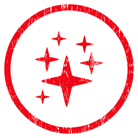 Sparkle Stars grainy textured icon for overlay watermark stamps. Rounded flat vector symbol with unclean texture. Circled red ink rubber seal stamp with grunge design on a white background. Illustration