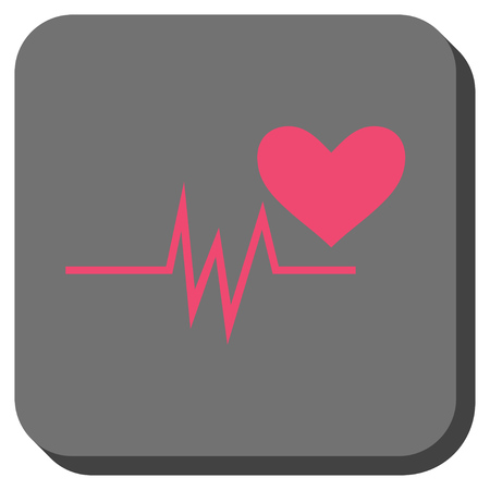 Heart Pulse Signal toolbar icon. Vector pictogram style is a flat symbol on a rounded square button, pink and gray colors.
