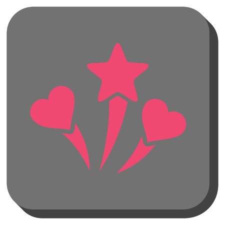 wedding feast: Lovely Fireworks interface button. Vector pictogram style is a flat symbol on a rounded square button, pink and gray colors.