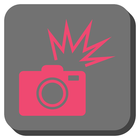 Camera Flash rounded button. Vector pictogram style is a flat symbol in a rounded square button, pink and gray colors.
