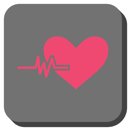 Heart Pulse square button. Vector pictograph style is a flat symbol on a rounded square button, pink and gray colors. Illustration