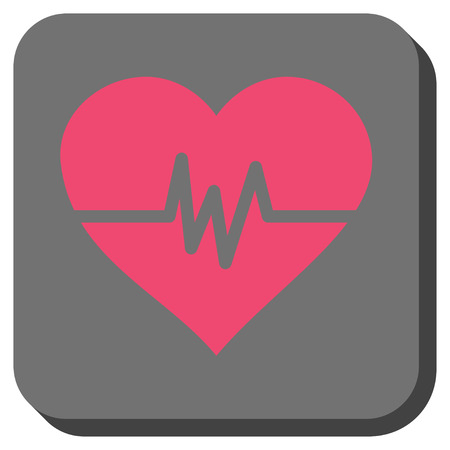 Heart Pulse interface button. Vector pictogram style is a flat symbol in a rounded square button, pink and gray colors. Illustration
