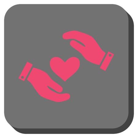 Love Heart Care Hands interface toolbar icon. Vector pictogram style is a flat symbol on a rounded square button, pink and gray colors.