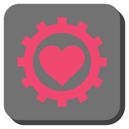 Love Heart Options Gear toolbar icon. Vector pictograph style is a flat symbol on a rounded square button, pink and gray colors. Illustration