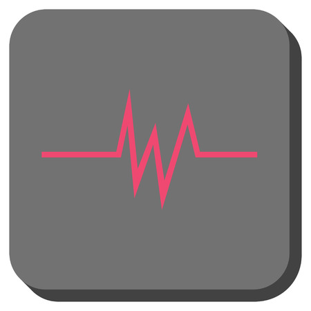 Pulse Signal rounded button. Vector pictograph style is a flat symbol centered in a rounded square button, pink and gray colors. Illustration