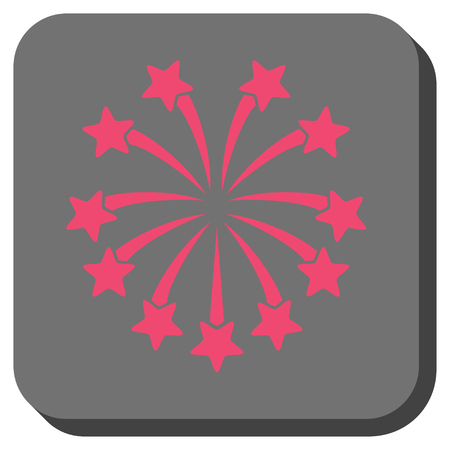 Spherical Fireworks toolbar icon. Vector pictograph style is a flat symbol on a rounded square button, pink and gray colors. Illustration